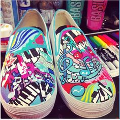 WIP - Music Paint Shoes by artsyfartsyness.deviantart.com on @DeviantArt