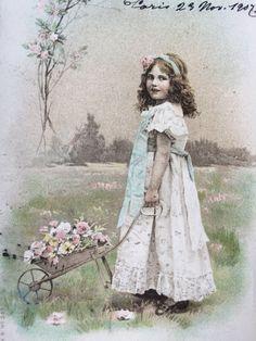 van 1900 Edwardian meisje * geïllustreerd Vintage briefkaart