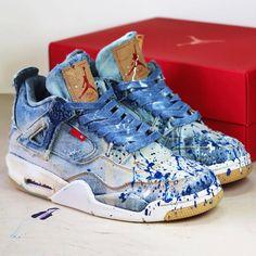 Bleached, Distressed & Painted' by Daniel Cordas Jordan 4, Jordan Shoes, Best Sneakers, Sneakers Fashion, Fashion Shoes, Nba Fashion, Levis Denim, Zapatillas Jordan Retro, Nike Shoes Blue