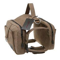 Amastly Cotton Canvas Dog Pack Hound Travel Camping Hiking Backpack Saddle Bag Rucksack for Medium
