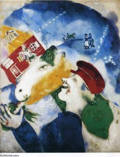 Peasant Life, Oil On Canvas by Marc Chagall Belarus) Marc Chagall, Chagall Paintings, Les Fables, Illustrations, Henri Matisse, Claude Monet, French Artists, Les Oeuvres, Oil On Canvas