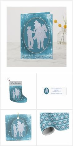Sweet cowboy and cowgirl design for the Christmas Holidays available on greeting cards, return address labels, stocking, ornament and gift wrapping paper. There are 2 other versions of this design. Cowgirl And Horse, Western Cowboy, Christmas Holidays, Merry Christmas, Western Weddings, Gift Wrapping Paper, Return Address, Address Labels, Rodeo