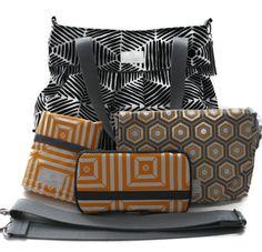 Diaper Bag Gift Set - Black Heni Diaper Bag - Honey Optica Wipes Case - Honey Hexagon Diaper Clutch - Messenger Strap