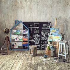 Купить Мастерская Художника - фотофон, фотозона, интерьер, оформление свадьбы, оформление интерьера, оформление праздника, графитная доска
