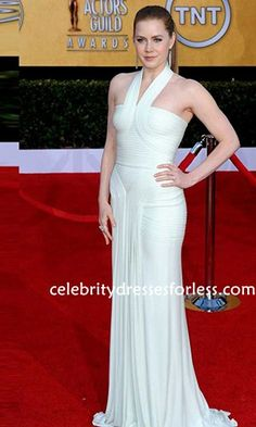 Amy Adams White Halter Prom Gown Red Carpet Gown 17th Annual Screen Actors Guild Awards Formal Dress.prom dresses,formal dresses,ball gown,homecoming dresses,party dress,evening dresses,sequin dresses,cocktail dresses,graduation dresses,formal gowns,prom gown,evening gown