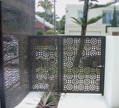 Screen Art Residential Gate: Security gate with side panel for main entrance. Solstice pattern.  http://www.screenart.net.au