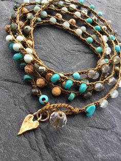 Crochet bracelet/necklace boho yoga beach bracelet beaded