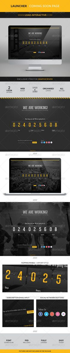 Launcher Coming Soon Page  #GraphicRiver        Launcher – Coming Soon Page  Everyone gets excited before launching a new website or even a new product. To help manage that excitement we created Launcher.   Keep your future users updated with this simple, clean and super easy to use landing page. You can set the amount of social networks as well as an email account for the users to subscribe.   Almost every aspect of this coming soon page can be edited to fit your needs. Colors, text…