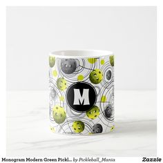 Monogram Modern Green Pickleball Pattern Coffee Mug