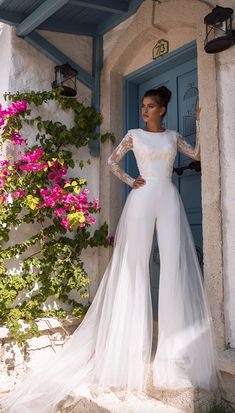 Trend 27 Wedding Pantsuit And Jumpsuit Ideas ★ wedding pantsuit ideas wih long sleeves lace top oksana mukha Modest Wedding Dresses, Bridal Dresses, Wedding Outfits, Dresses Dresses, Mini Dresses, Ball Dresses, Wedding Attire, Dress Outfits, Wedding Gowns