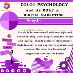 Purple is the colour of richness, creativity and royalty. It denotes power and dominance. Brands like Cadbury, Liberty London and Aussie Hair use Purple as their brand colour. For digital Marketing, Social Media Marketing and for More services related to marketing visit us. #purple #color #creativity #digitalmarketing #colormarketing #contentmarketing #colorpsychology #webdesign #socialmedia #SMM #SEO #contents #colorfulworld #marketing #ideas #colors #facts #onlinemarketing #digitalcreaters
