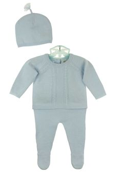 NEW Angel Dear Blue Soft Cotton Knit Baby Sweater Set with Cable Stitching and Matching Hat $65.00