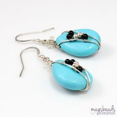 Turquoise Earrings Wire Earrings Wirewrapped by magsbeadscreation