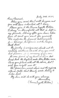 Five years before Laura passed away at the age of 90, she wrote this note to her daughter, Rose.