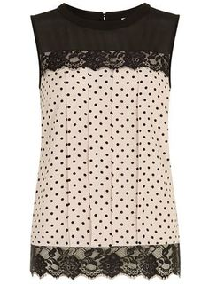 Blush spot lace contrast shell top - Tops & T-Shirts  - Clothing