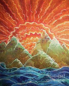 Sunrays Batik Art by Sue Duda Fish Ocean, Ocean Art, Batik Art, Alcohol Ink Painting, Mountain Art, Rock Formations, Coastal Living, Art Music, Burnt Orange