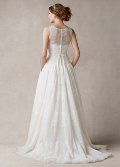 Sleeveless Ball Gown with Banded Tulle Overlay - David's Bridal
