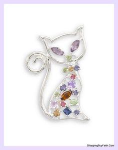 Silver Swarovski Crystal Cat Brooch #shoppingbuyfaith.com #cats #kitty #thingsthatsparkle