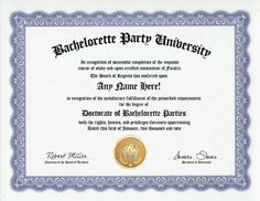 Bachelorette Party Parties Degree Custom Gag Diploma Doctorate Certificate Funny Customized Joke Gift  Novelty Item >>> Read more reviews of the product by visiting the link on the image.