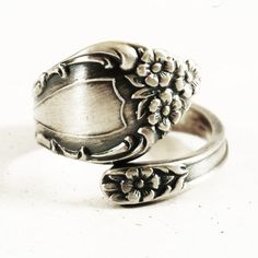 Dainty Antique Sterling Silver Spoon Ring, 1907 Watson's Meadow Rose, Handmade Gift for Her with Customized Ring Size (5425) by Spoonier on Etsy