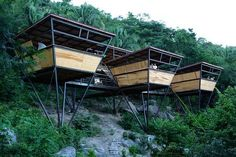 V-Houses, a jungle retreat near the fishing village of Yelapa in tropical Mexico. This rustic-modern aesthetic hotel was designed by Heinz Legler. Triangular Architecture, Architecture Design, Tropical Architecture, Unusual Hotels, Amazing Hotels, Casas Containers, Prefab Homes, Prefab Cabins, Green Building