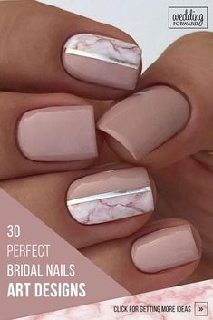30 Perfect Bridal Nails Art Designs ❤ Whichever type of bride you are. If you are still searching for the perfect bridal nails design, pull totally fresh inspiration from our wedding gallery. Bridal Nails Designs, Bridal Nail Art, Pink Nail Designs, Nude Nails, Pink Nails, My Nails, Coffin Nails, Pink Manicure, Bright Nails