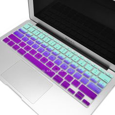 """Light Blue & Purple Faded Ombre keyboard Cover Silicone Skin for Macbook Air 11"""" 11-inch"""