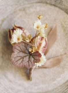 dusty neutrals, leaves & ribbon boutonniere -a wedding series by Studio Mondine, Photo by Jen Huang