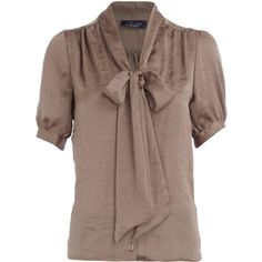 Taupe satin pussybow blouse ($43) ❤ liked on Polyvore featuring tops, blouses, shirts, women's clothing, bow collar blouse, taupe blouse, brown shirt, short sleeve tops en taupe tops
