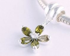 Sterling Silver Pendant Five Leaf Flower Green Crystal Charms - Pendant Charms - Charms - LYDIA JEWELLERY