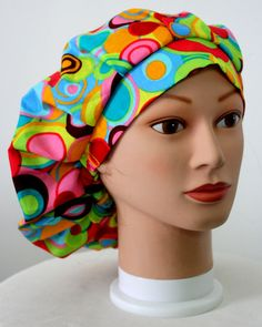 Neon Retro Bouffant Surgical Scrub Hat by duehringphotocc on Etsy, SOLD OUT