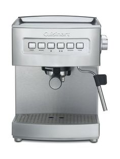 Cuisinart EM-200 Programmable 15-Bar Espresso Maker, Stainless Steel by Cuisinart. $215.63. 64-ounce reservoir; cup-warming tray; frothing cup and tamping tool included. 15 bars of pressure; uses either ground espresso or pods. Programmable espresso maker brews single or double espresso. Measures 10-1/2 by 9-1/4 by 12-3/4 inches; 3-year limited warranty. Steam nozzle for cappuccino or latte; pre-programmed cup sizes. Brew a single or double espresso using either ground esp...