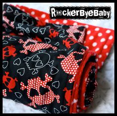 Punk Rock unisex baby or toddler blanket RED black white skulls and hearts with polkadot minky $36.00