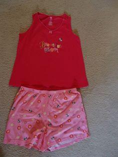 Women's Sleepwear Pajama PJ'S  Set BRIGHT PINK Shorts & Tank Size L 12-14 NWOT  #Sleepwear #PajamaSets
