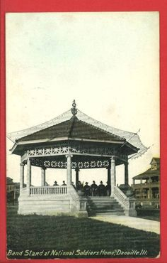 Danville, Illinois - Soldiers' Home - Band Stand - Postcard.