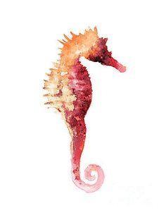 Seahorse drawing minimalist painting by Joanna Szmerdt