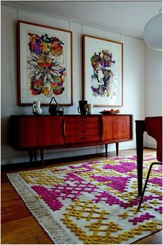 the rug, the paintings, the sideboard