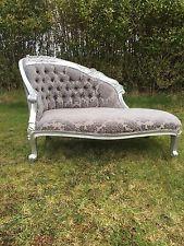 Antique Grey Damask Velvet French Silver Sofa Loveseat Chaise Longue Lounge