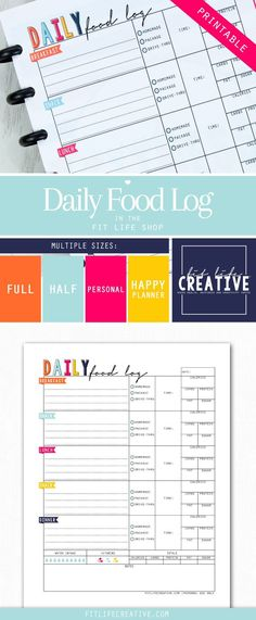 Printable Daily Food Log is a great way to keep track of your meals and daily nutritional intake.  You can even track your water and vitamin intake.