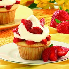 "HAPPY MOTHER""S DAY RECIPES ...❤ ❤ ❤ Strawberry Shortcake Cupcakes Recipes ~ INGREDIENTS: All-purpose flour - Baking powder - Baking soda - Salt - Butter - Sugar - Large eggs - Vanilla extract - Sour cream ~ Topping: Strawberries - Sugar - Lemon juice - Cold heavy cream - Confectioners' sugar - Vanilla extract"