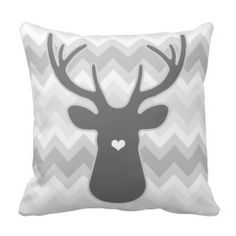Grey Chevron Heart Nose #Deer #Pillow -- Modern and chic deer head pillow with grey chevron pattern design. Ultra hot trend in home decor DEER head silhouettes. Add this fashion decorator pillow to your existing decor to update your style easy and fast. Grey Chevron Heart Nose Deer Pillows