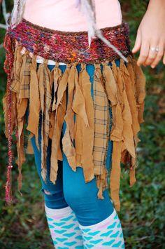 Kelpie- tattered silk faerie skirt with handspun yarn, corset tie.  via Etsy. knit
