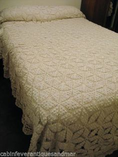 Vintage Off White Popcorn Star Heavy Bedspread Fringe King Queen Full 104x80   eBay