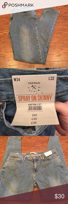 NWT Topman spray on skinny jeans Topman nwt spray on skinny jeans 34x32 Topman Jeans Skinny