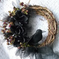 Raven Wreath, Crow Wreath, Pagan Wreath, Fall Wreath, Samhain Wreath, Black Rose Rustic on Etsy, $19.99