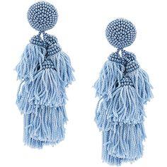 Sachin & Babi Chacha earrings ($365) ❤ liked on Polyvore featuring jewelry, earrings, blue, silk tassel earrings, blue tassel earrings, beaded tassel earrings, beaded earrings and beading jewelry