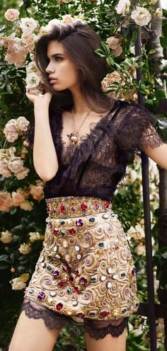 Bejeweled glam.  I love how light and airy the fabric is on the top and peeks out at the bottom of the skirt.
