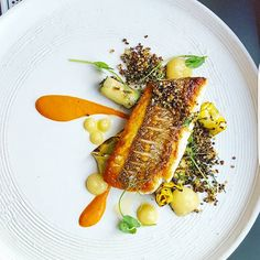 Pan seared snapper, fennel and lemon puree,grilled courgette,toasted quinoa
