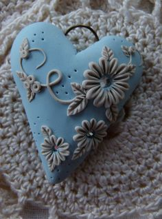 Artisan Polymer Clay Pendant  Heart  Shabby by MoobieGraceDesigns, $12.00