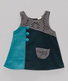 Another great find on #zulily! Blue & Gray Crocheted Corduroy Dress - Toddler & Girls #zulilyfinds
